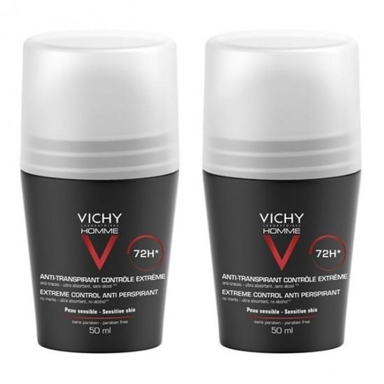 Vichy Homme Déodorant anti-transpirant bille 50ml x2
