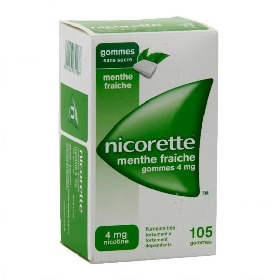 Nicorette menthe fraiche 4mg sans sucre 105 gommes à mâcher